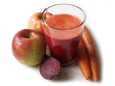 Äpple morot och rödbetsjuice